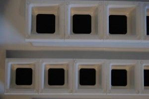 Vertical Growing Cabinet: Front Plate with cube trays inserted